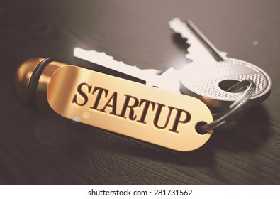 Startup - Bunch of Keys with Text on Golden Keychain. Black Wooden Background. Closeup View with Selective Focus. 3D Illustration. Toned Image.