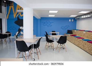 startup business office interior details, bright modern working space