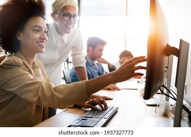 Startup business people group of programmer working as team to find solution to problem