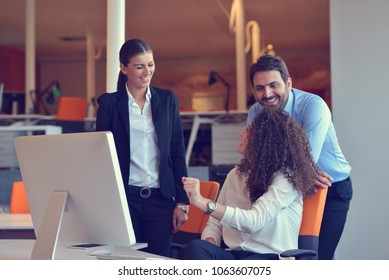Startup business people group working everyday job at modern office.