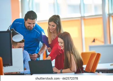 Startup business people group working everyday job at modern coworking  office space