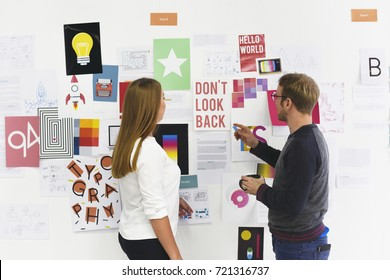 Startup Business People Looking on Strategy Board Information Thoughtful