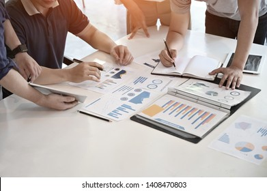 Startup businessman meeting with finance paper work on office desk.