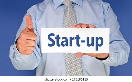 Start-up - Businessman with thumbs up