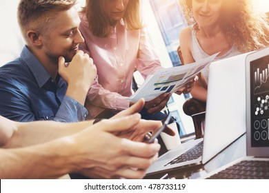 Startup Diversity Teamwork Brainstorming Meeting Concept.Business Team Coworkers Global Sharing Economy Report Document Laptop.People Working Planning Start Up.Group Young Man Women Discussing Office
