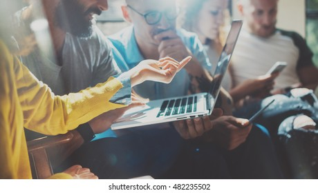 Startup Diversity Teamwork Brainstorming Meeting Concept.Business Team Coworker Analyze Strategy Laptop Process.Brainstorm People Working Start Up.Group Young Hipsters Using Gadgets Report Office