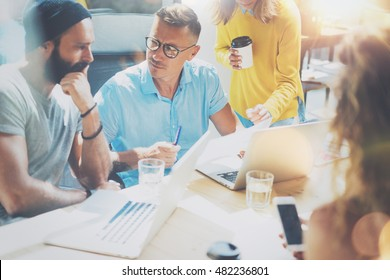 Startup Diversity Teamwork Brainstorming Meeting Concept.Business Team Coworker Global Sharing Economy Laptop.People Working Planning Start Up.Group Young Man Woman Looking Report,Modern Device Office