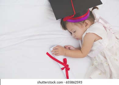 Startup Education Graduate Student Success Learning Concept. ,School concept ,future and hope of a Little girl from family