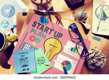 Concepto de negocio del plan de crecimiento de objetivos de inicio