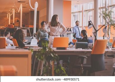 Start-up Team in modern coworking space