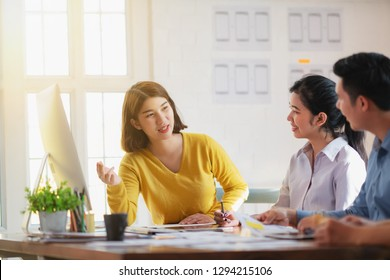 Startup teamwork diversity and Inclusion concept : Business Team Coworker working planning with colleague in office