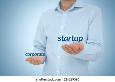 Startup versus corporate business concept. Young businessman (or employee) prefer startup company against corporation. Career coach advice to be startup employee.