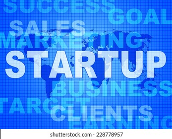 Startup Words Representing Funding Enterprise And Launch