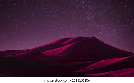 Stary night with abstract desert hill panorama scenery