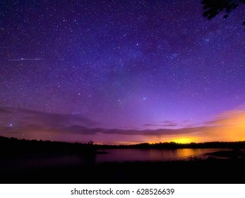 Stary night sky over the lake.