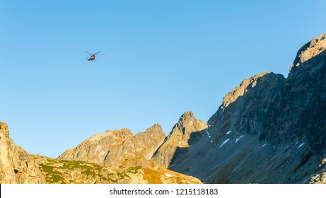 Stary Smokovec, Slovakia - October 12, 2018: The helicopter (Type Mil Mi-8T) returns after shelter deliveries to the mountains. Tatra Mountains.