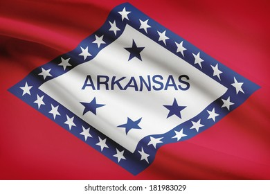 State of Arkansas flag blowing in the wind. Part of a series.