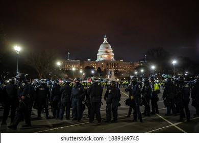 State Army and MPDC Police were protecting and trying to disperse all crowds in front of the Capitol building on January 6th in 2021, Washington DC, USA.