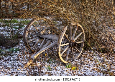 In the state of Brandenburg, Germany, you can still find many old agricultural tools, such as these old wooden wheels.