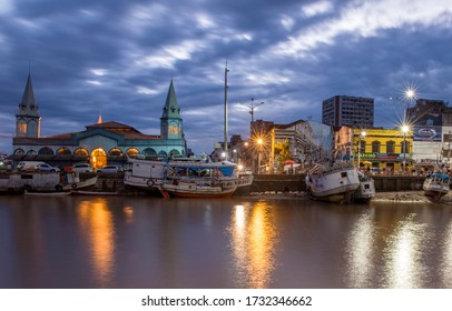STATE OF PARá, BRAZIL - MAY 15, 2020: View of Ver-o-Peso Market at dawn on the banks of Amazon River