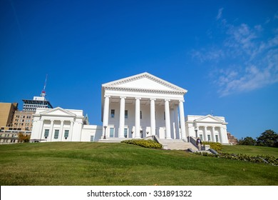 The State Capital building in Richmond Virginia with blue sky