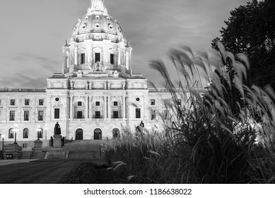 State Capitol building of Minnesota in black and white.