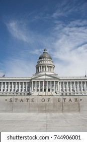 "The state capitol building of Utah, located in Salt Lake City, stands atop a hill overlooking the city.  Known as the ""Beehive State,"" Utah's three branches of government meet in this building."