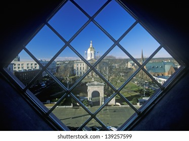 State Capitol of New Hampshire through a window in Concord, NH