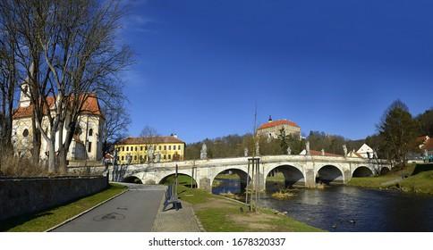 The State castle, baroque Bridge and the River Oslava, Namest nad Oslavou, Czech Republic - Shutterstock ID 1678320337