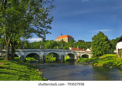 The State castle, baroque Bridge and the River Oslava, Namest nad Oslavou, Czech Republic