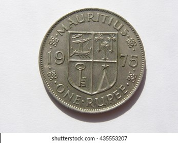 State coins in denominations of 1 Mauritius Rupee with the emblem of the obverse