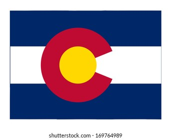 State of Colorado flag map isolated on a white background, U.S.A.