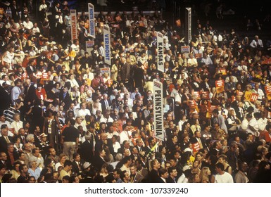 State delegations and signs at the 2000 Democratic Convention at the Staples Center, Los Angeles, CA