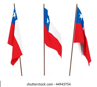 The state flag of Chile. On white background