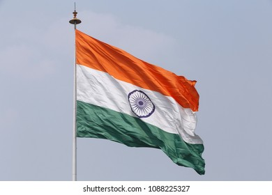 state flag of India on flagpole at Connaught Place in Delhi