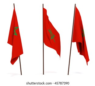 The state flag of Morocco. On white background