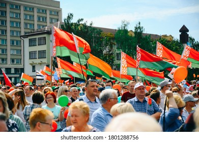 State flag of the Republic of Belarus at a rally in support of President Lukashenko, Grodno August 22, 2020
