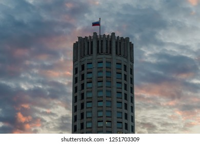 State flag of the Russian Federation over the House Of Government Of The Russian Federation