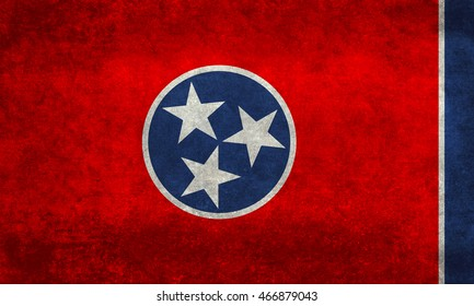 State flag of Tennessee with distressed textures