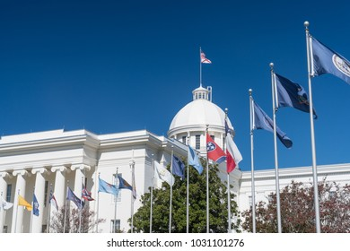 State Flags at the Alabama State Capitol Building in Montgomery, Alabama