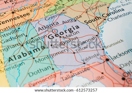 State Georgia On Map Usa Stock Photo Edit Now 612573257 Shutterstock