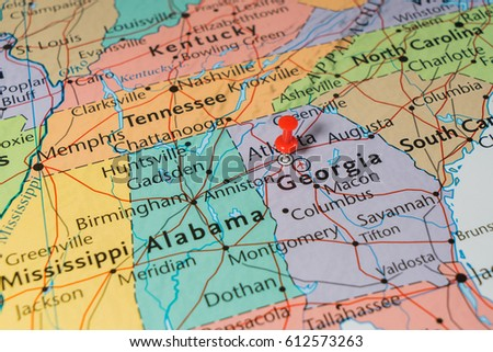 Georgia On Usa Map.State Georgia On Map Usa Stock Photo Edit Now 612573263 Shutterstock