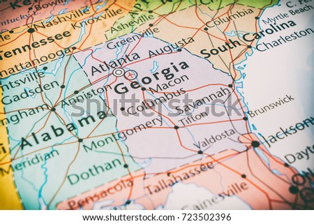 Georgia On Usa Map.State Georgia On Map Usa Stock Photo Edit Now 723502396 Shutterstock