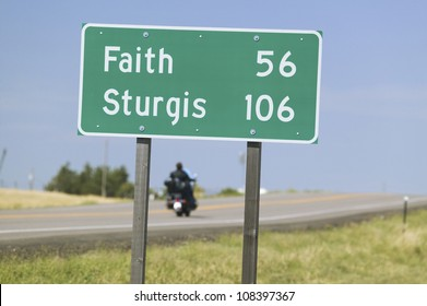 State Highway 34 with highway sign, Sturgis, South Dakota