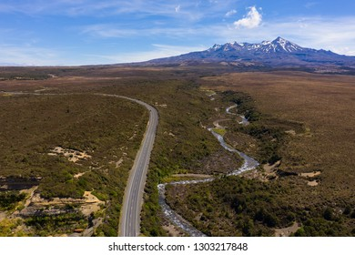State Highway one and stream from Mt Ruapehu, aerial view New Zealand