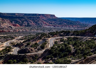 State Highway Park Road 5 passing through Palo Duro Canyon State Park near Amarillo, Texas
