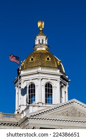 The state house capital dome of New Hampshire is located in the city of Concord, NH, USA.
