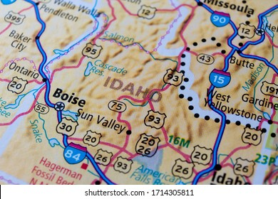 state Idaho on USA map background. concept of travel.