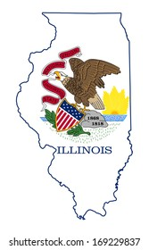 State of Illinois flag map isolated on a white background, U.S.A.