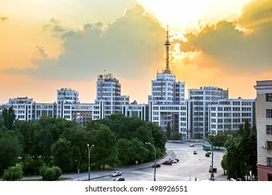 State Industry Building (Derzhprom) at sunset in Kharkiv, Ukraine